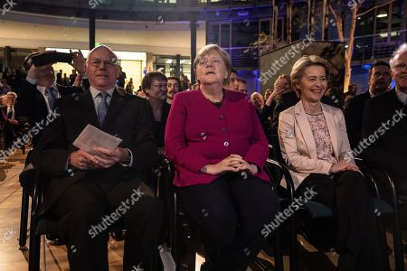 Stock Picture of President-designate of the European Commission Ursula von der Leyen (R), German Chancellor Angela Merkel (C) and  Former President of the Bundestag Norbert Lammert (L) attend the 'European Speech' event in Berlin, Germany, 08 November, 2019. On her first return to the German capital as President-designate of the European Commission, von der Leyen, delivered the 'European Speech', an annuall event which deals with the idea of ??Europe and its present situation.