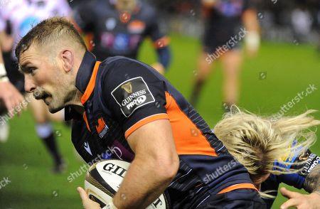John Barclay - Edinburgh flanker tackled by Richard Hibbard.