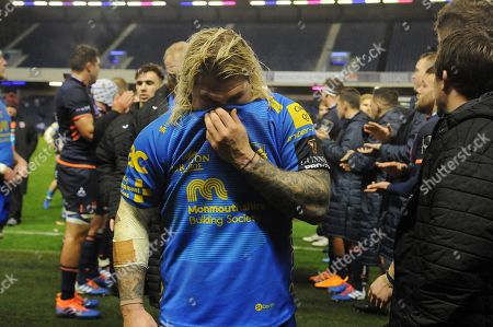 Richard Hibbard - Dragons hooker leaves the field dejected following a 20-7 defeat to Edinburgh Rugby.