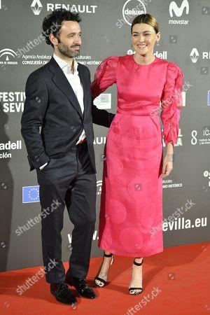 Rodrigo Sorogoyen (L) and Spanish actress Marta Nieto pose during the 16th edition of the Seville European Film Festival (SEFF), in Seville, southern Spain, 08 November 2019. The Festival de Sevilla runs from 08 to 16 November.