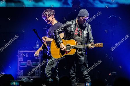 Morten Harket (L) and Paul Waaktaar-Savoy of Norwegian pop group a-ha perform in AFAS Live in Amsterdam, The Netherlands, 08 November 2019. The trio is best known for hits like 'Take on Me' and 'The Sun Always Shines on TV.'