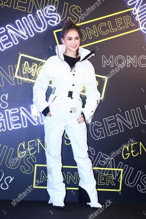 Hannah Quinlivan attended the opening ceremony of Moncler Genius concept store with a white down jacket and cute braids in Taipei,Taiwan,China on 07 November, 2019