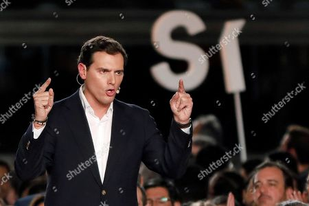 Leader and presidential candidate of Spanish Citizen's party, Albert Rivera, attends last electoral campaign rally in Barcelona, Catalonia, Spain, 08 November 2019. Spain is holding general elections on upcoming 10 November 2019 after Spanish socialist Primer Minister Pedro Sanchez failed to form a government following the 28 April elections.