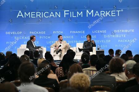 Stock Image of Scott Roxborough, European Bureau Chief, The Hollywood Reporter, Jeffrey Greenstein, President, Millennium Media, Inc., Alan Siegel, President & CEO, Alan Siegel Entertainment