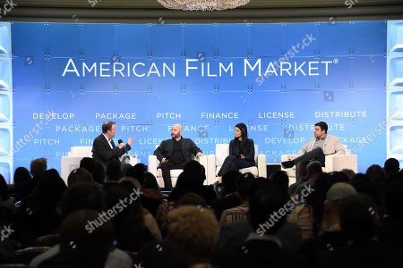 Scott Roxborough, European Bureau Chief, The Hollywood Reporter, Aaron L. Gilbert, Chairman & CEO, BRON Studios, Ashley Levinson, Chief Strategy Officer, BRON Studios, Anjay Nagpal, Chief Content Officer, BRON Studios