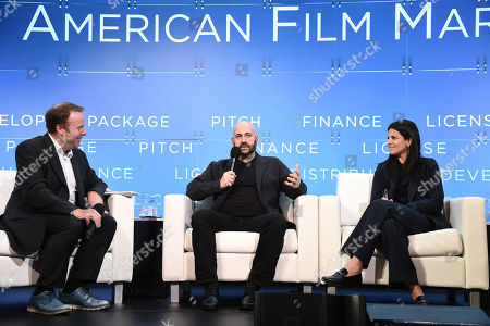 Scott Roxborough, European Bureau Chief, The Hollywood Reporter, Aaron L. Gilbert, Chairman & CEO, BRON Studios, Ashley Levinson, Chief Strategy Officer, BRON Studios