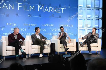 Stock Image of Tim League, Founder & CEO, Alamo Drafthouse Cinema, Erik Feig, Founder & CEO, PICTURESTART, Aron Levitz, Head of Wattpad Studios, Wattpad, Christian Parkes, Chief Marketing Officer, NEON