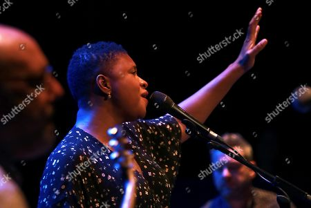 Stock Picture of Lizz Wright performs on stage as part of Granada's Jazz International Festival, played at the Isabel la Catolica Theatre in Granada, southern Spain, 08 November 2019.