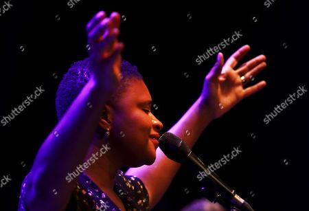 Lizz Wright performs on stage as part of Granada's Jazz International Festival, played at the Isabel la Catolica Theatre in Granada, southern Spain, 08 November 2019.