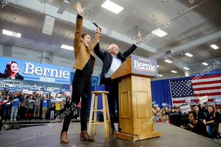 Bernie Sanders, Alexandria Ocasio-Cortez. Democratic presidential candidate Sen. Bernie Sanders, I-Vt., and Rep. Alexandria Ocasio-Cortez, D-N.Y., greet supporters on the campus of Iowa Western Community College in Council Bluffs, Iowa
