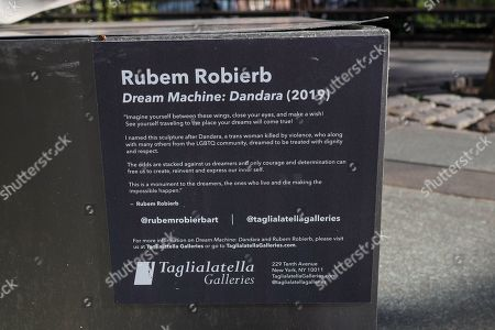 Stock Picture of 'Dream Machine: Dandara' sculpture by Brazilian artist Rubem Robierb is seen in the Tribeca neighborhood of Manhattan Island