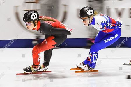 Courtney Lee Sarault (CAN) skates during the ISU World Cup II at Maurice-Richard Arena in Montreal, Quebec