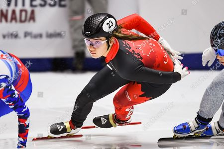 Look on Courtney Lee Sarault (CAN) during the ISU World Cup II at Maurice-Richard Arena in Montreal, Quebec
