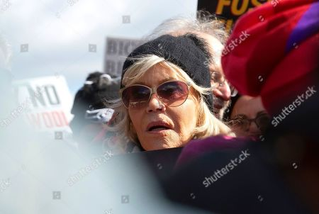 Actress and political activist Jane Fonda, center, joined by Ben Cohen and Jerry Greenfield of 'Ben and Jerry's' Ice Cream, during a climate march.