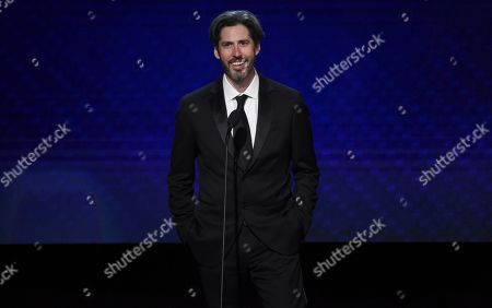 Jason Reitman speaks at the 33rd American Cinematheque Award honoring Charlize Theron at the Beverly Hilton Hotel, in Beverly Hills, Calif