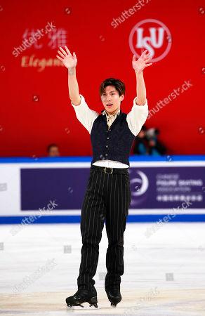 Keiji Tanaka of Japan reacts after performing during the men's Free Skating program at the 2019 Shiseido Cup of China ISU Grand Prix of Figure Skating in Chongqing, China, 09 November 2019.