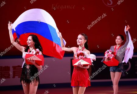 Anna Shcherbakova (C) of Russia celebrates after winning of the Ladies competition at the 2019 Shiseido Cup of China ISU Grand Prix of Figure Skating in Chongqing, China, 09 November 2019. Shcherbakova won ahead of second placed Satoko Miyahara (R) of Japan and third placed Elizaveta Tuktamysheva (L) of Russia.