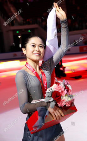 Satoko Miyahara of Japan celebrates after taking the second place in the Ladies competition at the 2019 Shiseido Cup of China ISU Grand Prix of Figure Skating in Chongqing, China, 09 November 2019.