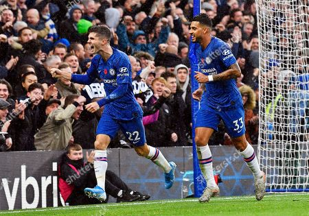 Chelsea's Christian Pulisic (L) celebrates with teammate Emerson (R) after scoring the 2-0 lead during the English Premier League soccer match between Chelsea FC and Crystal Palace at Stamford Bridge in London, Britain, 09 November 2019.