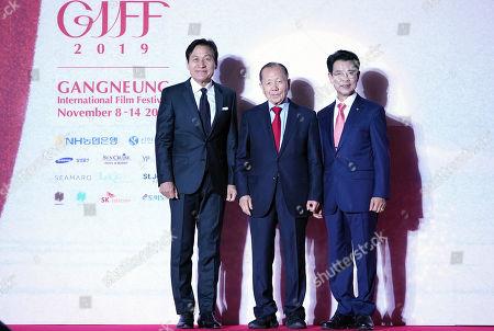 Stock Photo of Ahn Sung-ki, Kim Dong-Ho of GIFF Chairman of Organizing Committee, Kim Han-Geun of Mayor of Gangneung City