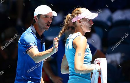 French Fed Cup team captain Julien Benneteau (L) gives instructions to Kristina Mladenovic (R) during her singles match against Ajla Tomljanovic of Australia at the Fed Cup final tennis competition between Australia and France at RAC Arena in Perth, Australia, 09 November 2019.
