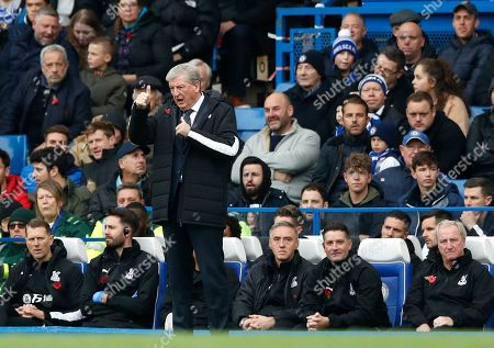 Stock Image of Crystal Palace's manager Roy Hodgson gestures during the English Premier League soccer match between Chelsea and Crystal Palace at Stamford Bridge stadium in London