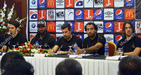 (L-R) Former Brazilian soccer player Kaka,  French football manager and former player Nicolas Anelka, former Portuguese soccer player Luis Figo, Pakistani soccer player Saddam Hussain and former Spanish soccer player Carles Puyol attend a press conference in Karachi, Pakistan, 09 November 2019. The football stars are currently touring Pakistan as part of World Soccer Starz, to play an exhibition match in Karachi with the FC Karachi football club to promote young talent in the WSS Tour and give them an opportunity of a lifetime playing against global football legends.