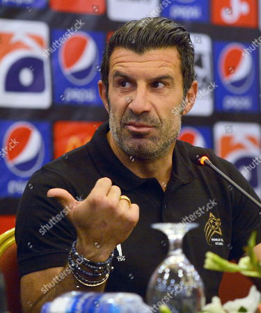 Former Portuguese soccer player Luis Figo attends a press conference in Karachi, Pakistan, 09 November 2019. The football stars are currently touring Pakistan as part of World Soccer Starz, to play an exhibition match in Karachi with the FC Karachi football club to promote young talent in the WSS Tour and give them an opportunity of a lifetime playing against global football legends.