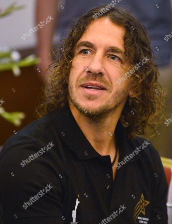 Former Spanish soccer player Carles Puyol attends a press conference in Karachi, Pakistan, 09 November 2019. The football stars are currently touring Pakistan as part of World Soccer Starz, to play an exhibition match in Karachi with the FC Karachi football club to promote young talent in the WSS Tour and give them an opportunity of a lifetime playing against global football legends.