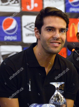 Former Brazilian soccer player Kaka attends a press conference in Karachi, Pakistan, 09 November 2019. The football stars are currently touring Pakistan as part of World Soccer Starz, to play an exhibition match in Karachi with the FC Karachi football club to promote young talent in the WSS Tour and give them an opportunity of a lifetime playing against global football legends.