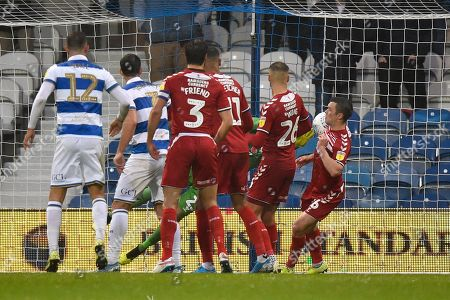 Own Goal - Jonathan Howson (16) of Middlesbrough scores an own goal to give QPR a 2-1 lead during the EFL Sky Bet Championship match between Queens Park Rangers and Middlesbrough at the Kiyan Prince Foundation Stadium, London