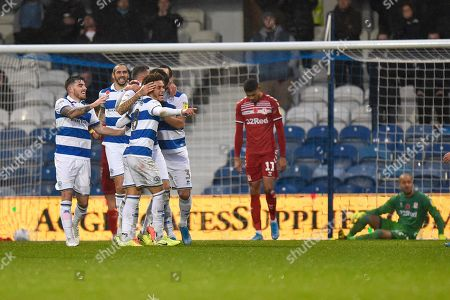 Own Goal - Luke Amos (8) of Queens Park Rangers celebrates the Jonathan Howson (16) of Middlesbrough own goal to give QPR a 2-1 lead during the EFL Sky Bet Championship match between Queens Park Rangers and Middlesbrough at the Kiyan Prince Foundation Stadium, London