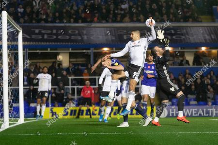 Anthony Knockaert (24) challenges the Birmingham keeper Lee Camp (1) during the EFL Sky Bet Championship match between Birmingham City and Fulham at the Trillion Trophy Stadium, Birmingham