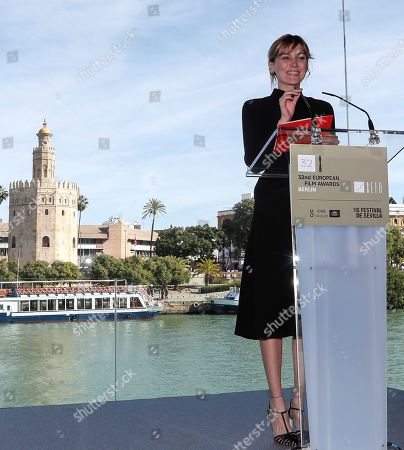 Marta Nieto announces the nominations to the awards of the 32nd edition of the European Film Festival held in Seville, Spain, 09 November 2019. Some of the films that stand chances in btaining an award are 'Dolor y Gloria' (Almodovar), 'J'accuse' (Polanski), 'Sorry We Missed You' (Ken Loach), or 'El Reino' (Sorogoyen) amongst others. The European Film Festival is held from 08 to 16 November 2019.