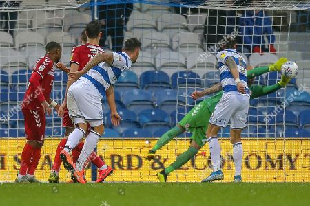 GOAL 2-1 Queens Park Rangers defender Geoff Cameron (5 header, deflects off Middlesbrough midfielder Jonathan Howson (16) OWN GOAL, during the EFL Sky Bet Championship match between Queens Park Rangers and Middlesbrough at the Kiyan Prince Foundation Stadium, London
