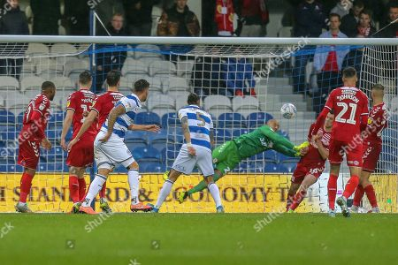 Stock Image of GOAL 2-1 Queens Park Rangers defender Geoff Cameron (5 header, deflects off Middlesbrough midfielder Jonathan Howson (16) OWN GOAL, during the EFL Sky Bet Championship match between Queens Park Rangers and Middlesbrough at the Kiyan Prince Foundation Stadium, London