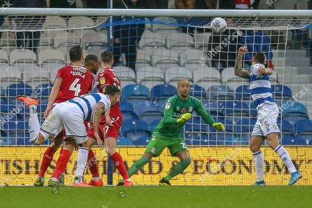 Stock Picture of GOAL 2-1 Queens Park Rangers defender Grant Hall (4) header, deflects off Middlesbrough midfielder Jonathan Howson (16) OWN GOAL, during the EFL Sky Bet Championship match between Queens Park Rangers and Middlesbrough at the Kiyan Prince Foundation Stadium, London