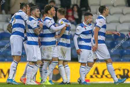 GOAL 2-1 OWN GOAL Middlesbrough midfielder Jonathan Howson (16) (not in picture) Queens Park Rangers players celebrate during the EFL Sky Bet Championship match between Queens Park Rangers and Middlesbrough at the Kiyan Prince Foundation Stadium, London