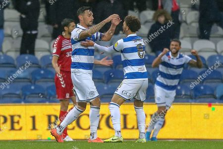 GOAL 2-1 OWN GOAL Middlesbrough midfielder Jonathan Howson (16) (not in picture) Queens Park Rangers defender Grant Hall (4) celebrates during the EFL Sky Bet Championship match between Queens Park Rangers and Middlesbrough at the Kiyan Prince Foundation Stadium, London