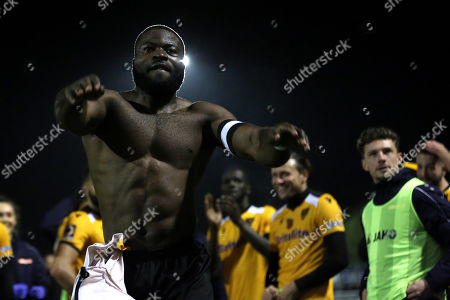 Stock Photo of Maidstone's captain, George Elokobi, celebrates their victory at the final whistle during Maidstone United vs Torquay United, Emirates FA Cup Football at the Gallagher Stadium on 9th November 2019
