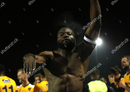 Stock Picture of Maidstone's captain, George Elokobi, celebrates their victory at the final whistle during Maidstone United vs Torquay United, Emirates FA Cup Football at the Gallagher Stadium on 9th November 2019