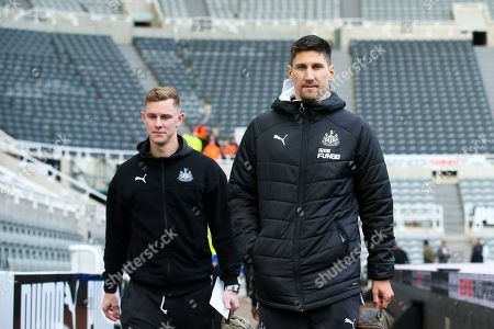 Fabian Schar (#5) of Newcastle United and Emil Krafth (#17) of Newcastle United arrives ahead of the Premier League match between Newcastle United and Bournemouth at St. James's Park, Newcastle