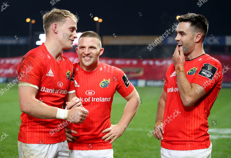 Munster vs Ulster. Munster's Mike Haley, Andrew Conway and Conor Murray celebrate after the game