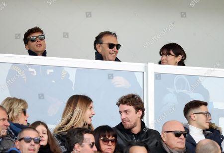 Stock Photo of Brescia's chairman Massimo Cellino (C) attends the Italian Serie A soccer match between Brescia Calcio and Torino FC at Mario Rigamonti stadium in Brescia, Italy, 09 November 2019.