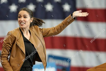 Stock Photo of Rep. Alexandria Ocasio-Cortez, D-N.Y., campaigns for Democratic presidential candidate Sen. Bernie Sanders, I-Vt., on the campus of Iowa Western Community College in Council Bluffs, Iowa