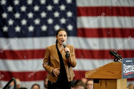 Rep. Alexandria Ocasio-Cortez, D-N.Y., campaigns for Democratic presidential candidate Sen. Bernie Sanders, I-Vt., on the campus of Iowa Western Community College in Council Bluffs, Iowa