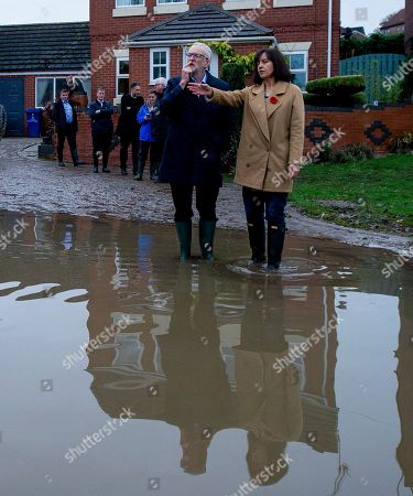 Jeremy Corbyn, leader of British Labour Party and former MP Caroline Flint on a visit to the community affected by flooding in Doncaster, Britain, 09 November 2019. Britons go to the polls on 12 December in a general election.
