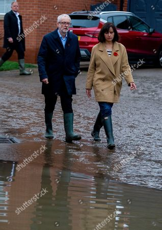 Stock Image of Jeremy Corbyn, leader of British Labour Party and former MP Caroline Flint on a visit to the community affected by flooding in Doncaster, Britain, 09 November 2019. Britons go to the polls on 12 December in a general election.