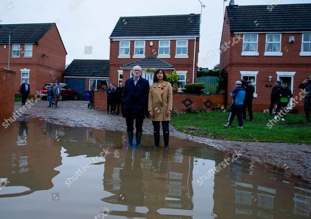 Stock Picture of Jeremy Corbyn, leader of British Labour Party and former MP Caroline Flint on a visit to the community affected by flooding in Doncaster, Britain, 09 November 2019. Britons go to the polls on 12 December in a general election.
