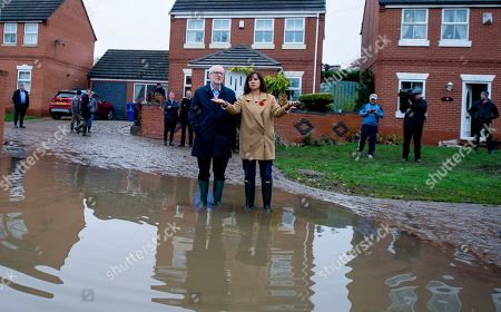 Stock Photo of Jeremy Corbyn, Leader of the Labour Party and former MP Caroline Flint on a visit to the community affected by flooding in Doncaster, Britain, 09 November 2019. Britons go to the polls on 12 December in a general election